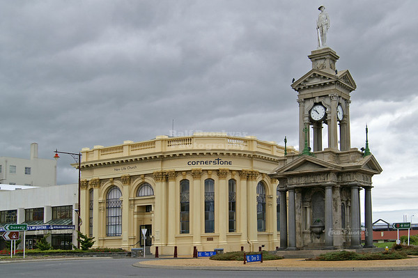Troopers' Memorial (Boer War) and Cornerstone Church at the Intersection of Tay Street and Dee Street, Invercargill, South Island, New Zealand