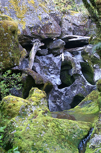 Bizarre rock formations near Milford Road, Southland, South Island, New Zealand