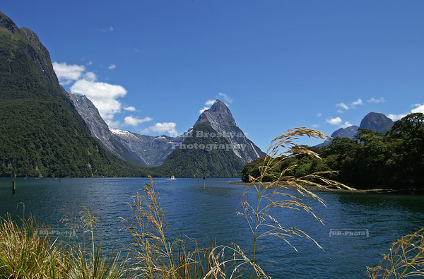View over Milford Sound with Mitre Peak in the center. Fjordland National Park, New Zealand