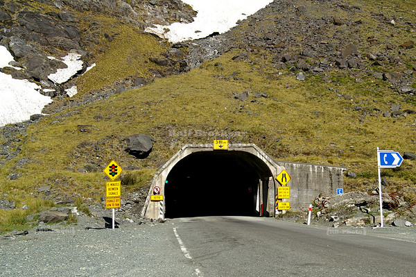 East entrance of the Homer Tunnel on Milford Road, New Zealand State Highway 94, Fjordland, South Island, New Zealand