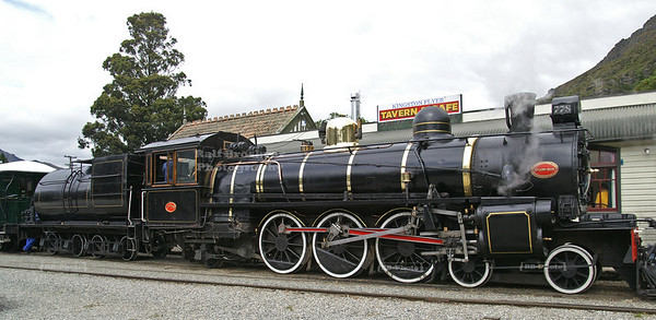 Kingston Flyer Vintage Steam Train # 778 in front to of the Kingston Railway Station, Southland, South Island, New Zealand