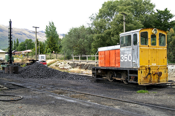 Small service locomotive #350 at the coal depot for the Kingston Flyer Vintage Steam Train, Southland, New Zealand