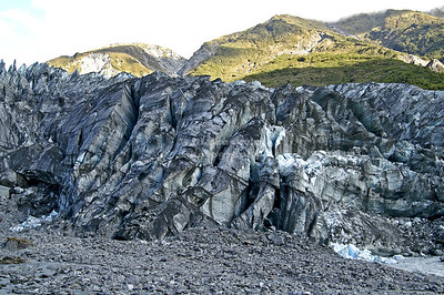 Terminal face of the Fox Glacier, Westland Tai Poutini National Park, South Island, New Zealand