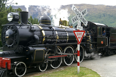 The Kingston Flyer Vintage Steam Train approaching Kingston Railway Station, Southland, South Island, New Zealand