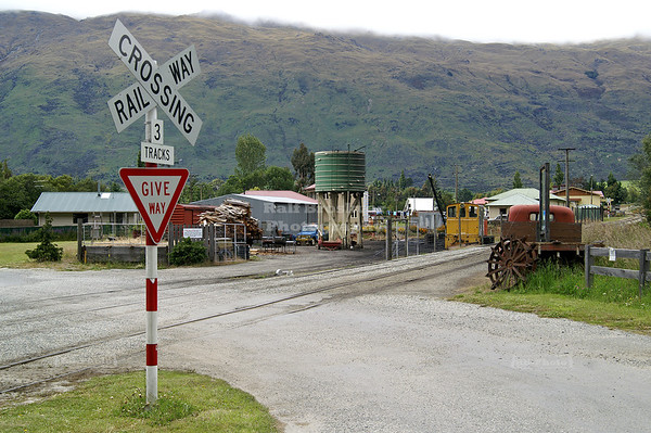 Railway crossing in Kingston, home of the Kingston Flyer Vintage Steam Train, Southland, South Island, New Zealand