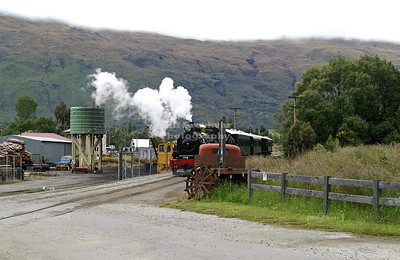 The Kingston Flyer Vintage Steam Train approaching Kingston Railway Station, Southland, New Zealand