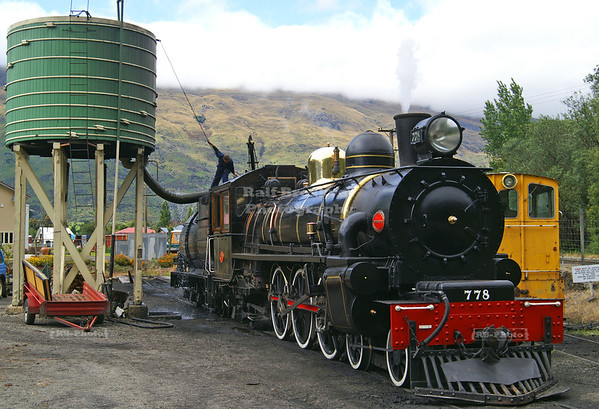 The Kingston Flyer Vintage Steam Train #778 fetching coal and water at the depot in Kingston, Southland, New Zealand