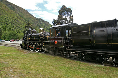 The Kingston Flyer Vintage Steam Train entering Kingston Railway Station, Southland, South Island, New Zealand