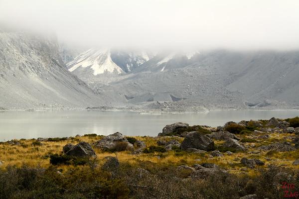 Clearing sky, Hooker glacier lake hike photo 1