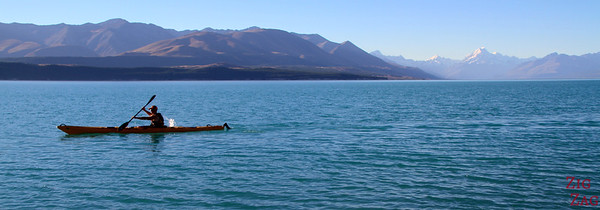 Kayaking in Lake pukaki with view of Mount Cook, New Zealand