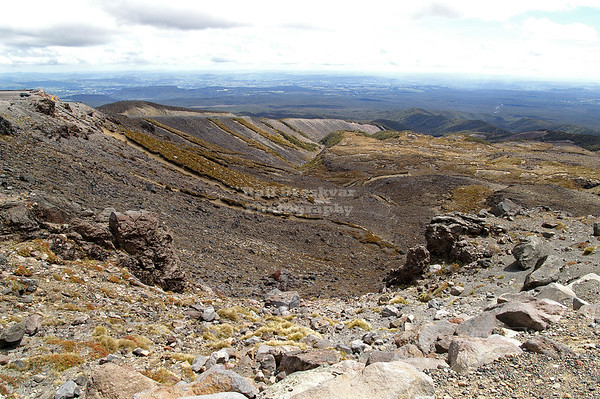 View from Mount Ruhapehu over the Taupo Plateau, Tongariro National Park, North Island, New Zealand