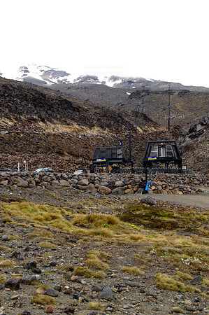 Mount Ruhapehu Ski lifts at the base station waiting for snow, North Island, New Zealand