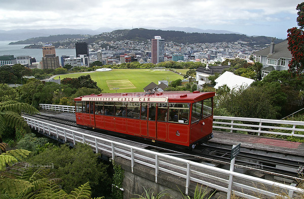 Wellington Cable Car leaving the summit station near the Botanic Garden, Wellington,  North Island, New Zealand