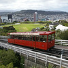 Wellington Cable Car leaving the summit station near the Botanic Garden, Wellington, <br /> North Island, New Zealand