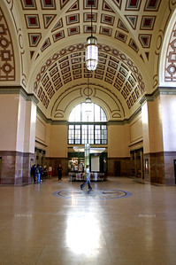 Beautiful vaulted ceiling in the foyer of Wellington Railway Station, North Island, New Zealand