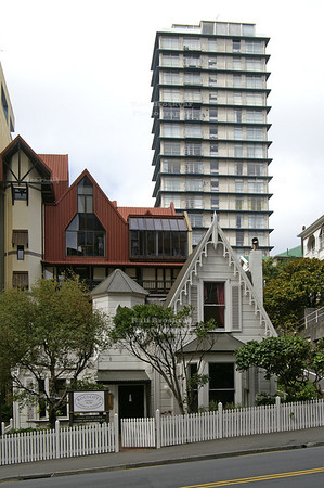 Living in Wellington- 3 generations, 3 different architectural styles side by side, Wellington, North Island, New Zealand
