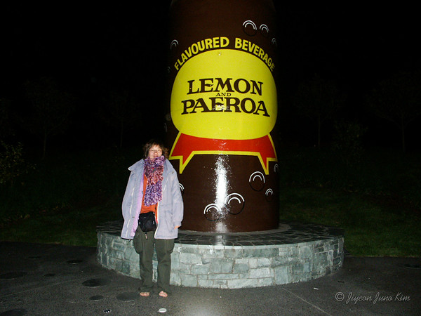 Got over the Three-day Rule, had fun traveling around the North Island of New Zealand. Notice the homemade scarf by my friend Diana, borrowed jacket due to the extremely changeable weather, and bare feet. Circa 2004.