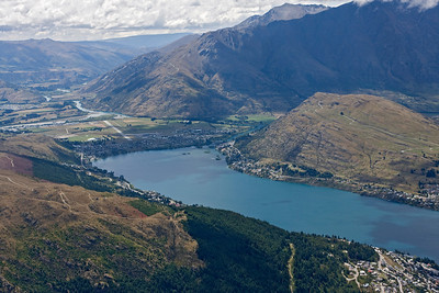 The runway is in sight at the end of Lake Wakatipu