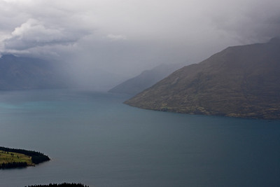 Here comes the rain - view of Lake Wakatipu from Skyline Gondola, Queenstown - heavy rain, our helicopter flight is not looking good at this point.