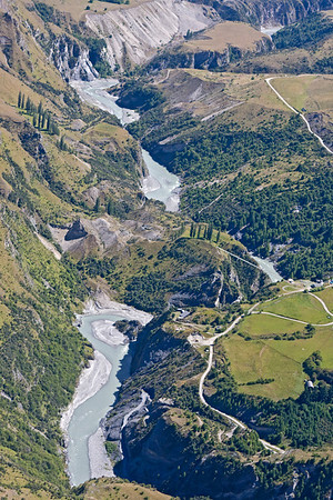 Shotover River through Skippers Canyon - Pipline Bridge can be seen crossing the george