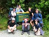 The start of the Routeburn Hike(back row: AB, Romy, Joanina, Cliff. Front row: Mike, Matthew, Lesley)