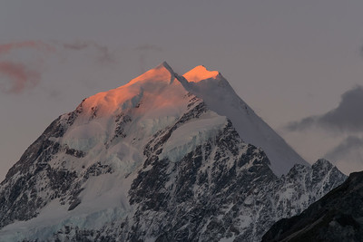 Last kiss of light - sunset, Mt. Cook