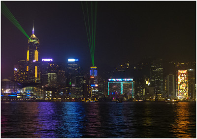 The famous laser light show at the harbourside. Named as the 'World's Largest Permanent Light and Sound Show' by Guinness World Records, coloured lights, laser beams and searchlights perform in an unforgettable all-round spectacle synchronised to music and narration that celebrates the energy, spirit and diversity of Hong Kong. There are five main themes: Awakening, Energy, Heritage, Partnership, and the finale, Celebration.