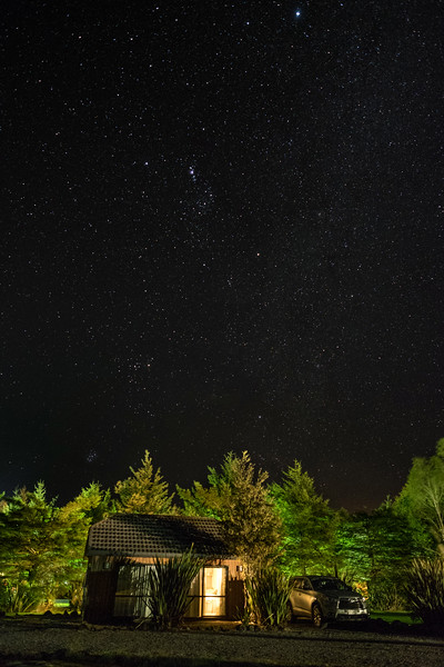 Starry night over our cabin in Tongariro National Park.  You astronomers out there may notice the constellation Orion in middle of the sky, facing downward
