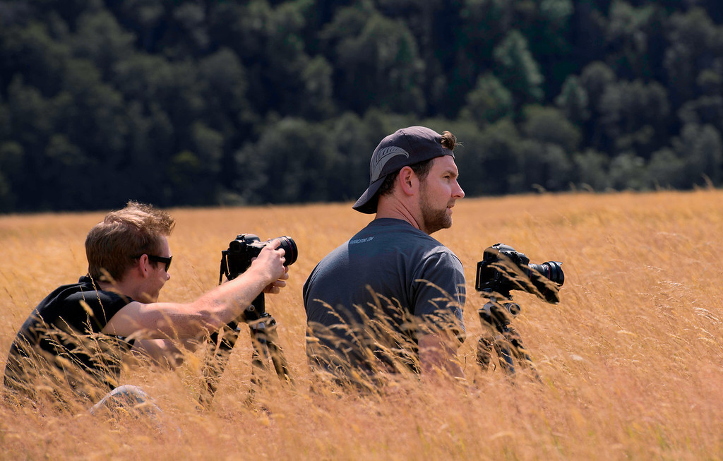 Scott Kublin and Richard Schneider looking for a good shot in the grasses of Fiordland National Park