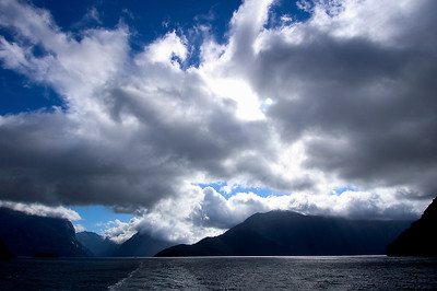 Wake & Clouds- Milford Sound, New Zealand