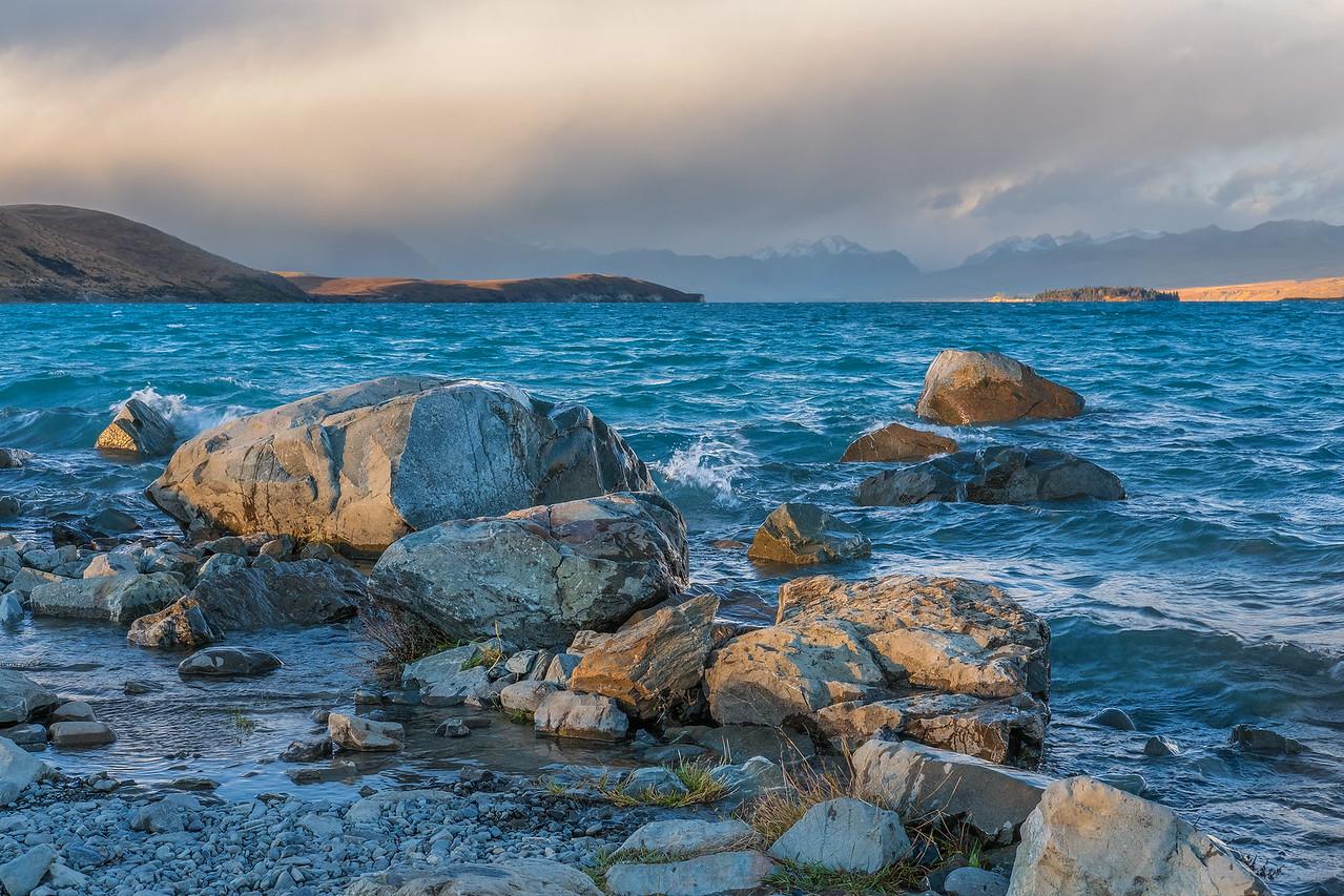 Sunset on the shores of Lake Tekapo