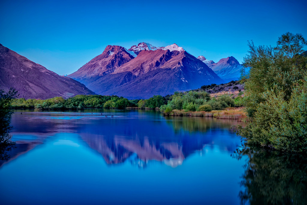 Glenorchy Lagoon looking towards Mount Ernslaw.