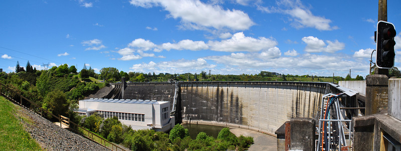 Dam at the finish line of the Lake Karapiro rowing course