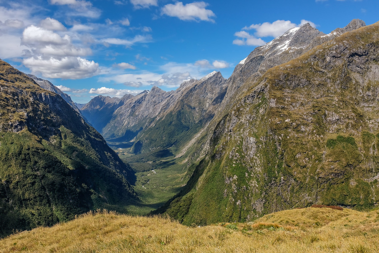 At Mackinnon Pass, roughly halfway point of the Milford Track.  View of the valley we hiked