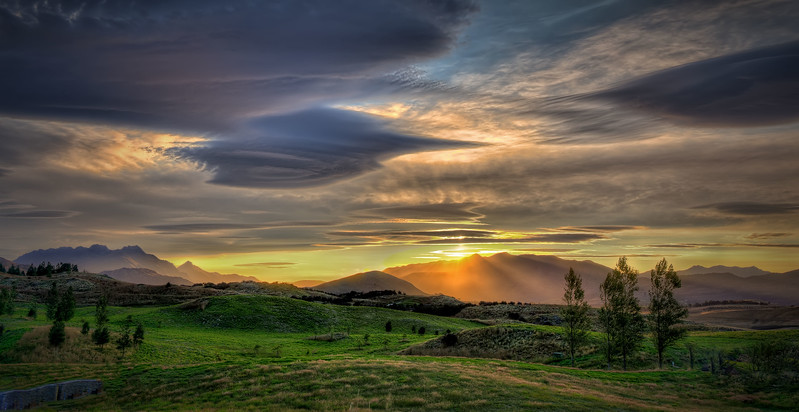 Sunset at Bendemeer estates, Arrowtown, New Zealand