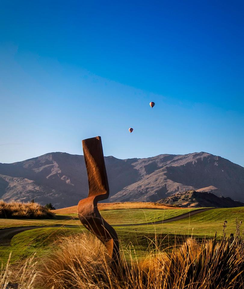 "Mark Hills ""Bent"" sculpture at The Hills. Arrowtown New Zealand."