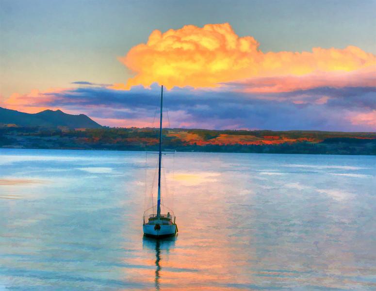 sailboat at sunset painted