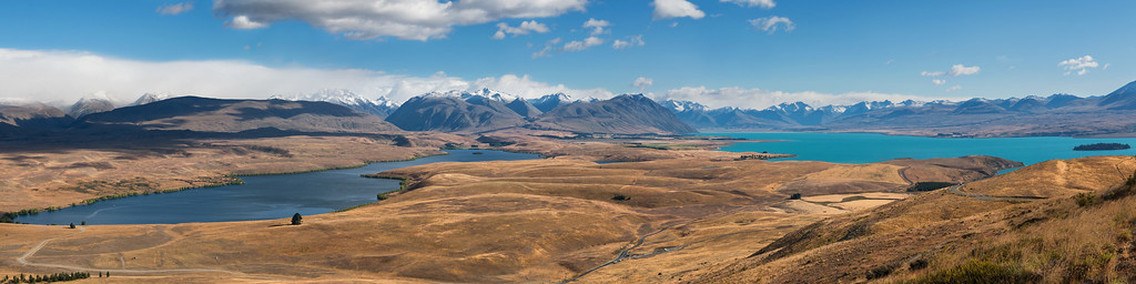 View of Lake Alexandrina (left) and Lake Tekapo from the sky observatories high above the town of Lake Tekapo