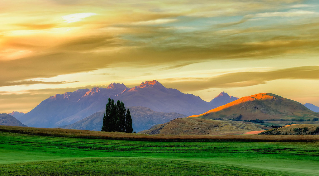 Sunrise over the hills. At the Hills, Arrowtown New Zealand.