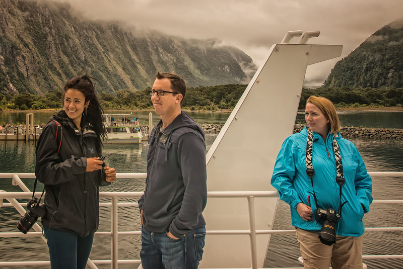 Bel, Trey and Ceci enjoying the ride in Milford Sound.
