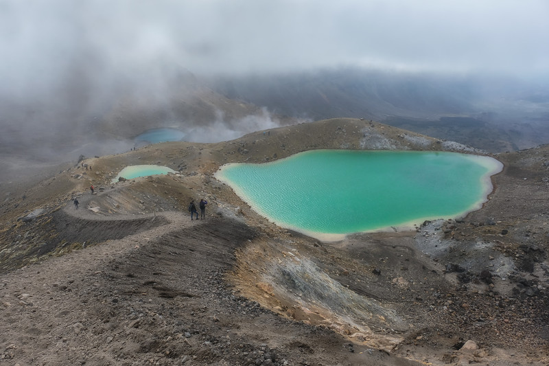 Emerald Lakes - Tongariro Alpine Crossing, just beyond the summit.  This is an active, geothermal landscape and hard to know where sulphuric steam ends and clouds begin