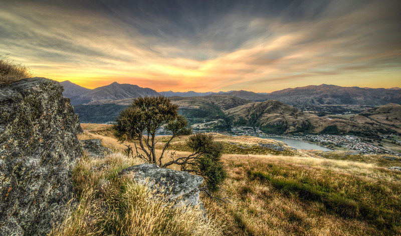 sunset at deer park heights | queenstown, new zealand
