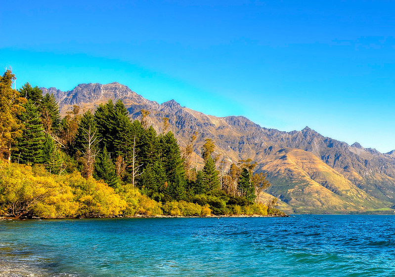 Lake Wakatipu along the road to Glenorchy New Zealand