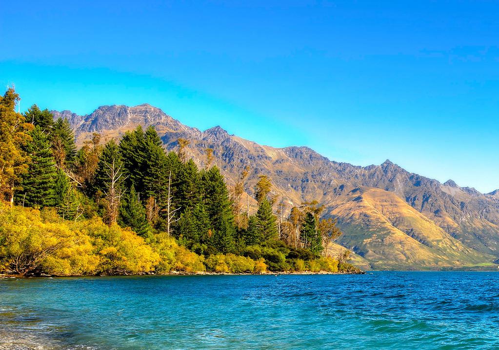 Lake Wakatipu along the road to Glenorchy New Zealand