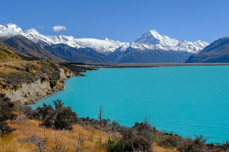 Lake Pukaki and Mt. Cook (tallest mountain in NZ)