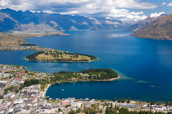 Aerial view of Queenstown, Lake Wakatipu, and the Remarkables.