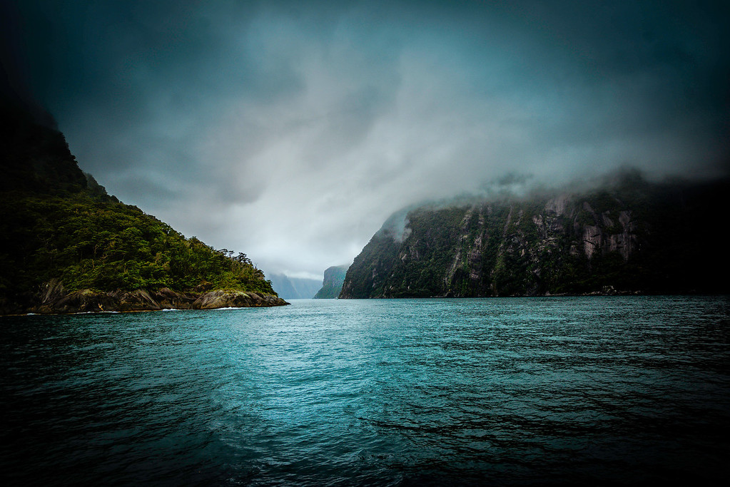 Entrance to Milford Sound from the Tasman Sea.   James Cook, who bypassed Milford Sound on his journeys feared venturing too close to the steep mountainsides, afraid that wind conditions would prevent escape  ( Actually its a Fjord not a Sound.)  The Sound wasn't discovered until much later in the 1800's because of this.