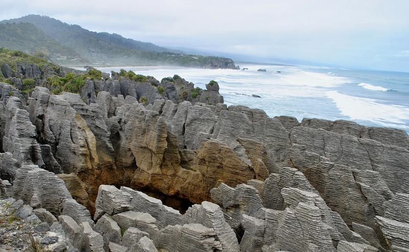 Pancake rocks off the coast of the Tasman Sea, south island.