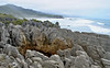 Pancake rocks off the coast of the Tasman Sea, south island.