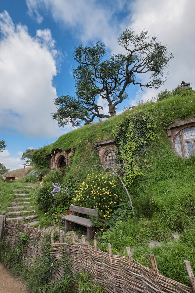 Bag End, Bilbo Baggins home in the Shire.  At the Hobbiton movie set